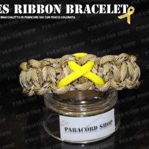 Causes Ribbon Bracelet , Braccialetto celebrativo in PARACORD 550 con fiocco colorato
