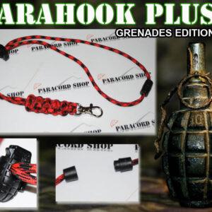 PARAHOOK PLUS – PORTATUTTO IN PARACORD 550 CON GANCIO,CLIP APRIBILE E BOMBA A MANO