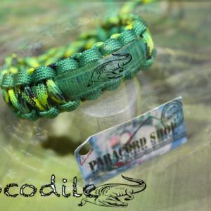 Crocodile , bracciale in PARACORD 550 con pelle effetto coccodrillo